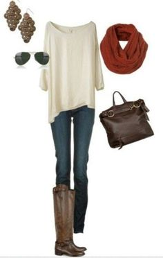 Cute Casual Fall Outfit…love the top, can also stuff one side into pocket….c