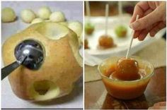 Bite-size Caramel Apples ~ WOW! You don't have to eat the whole apple anymore!! Kids will love this! 1 bag (11 oz.) KRAFT Caramel Bits 2 Tbsp. water Make apple rounds with melon baller.