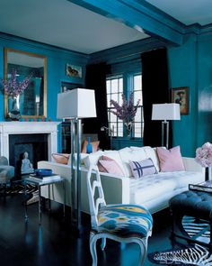 ...blue lacquer, and  sofas...fabulous... great color combos