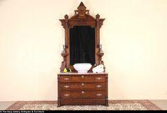 Victorian Eastlake 1870 Antique Marble Top Chest or Dresser & Mirror