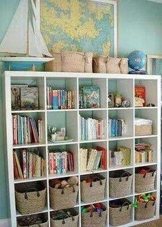 Playroom organizing shelving unit