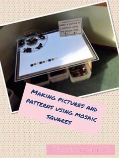 Making patterns and pictures using square mosaic tiles on the light table.