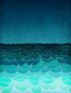 SALE Storm in my soul Art illustration Turquoise art by tubidu