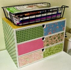 The Best DIY and Decor: Decorate craft storage box with scrapbook paper.