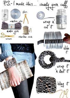 DIY: chunky yarn cuff