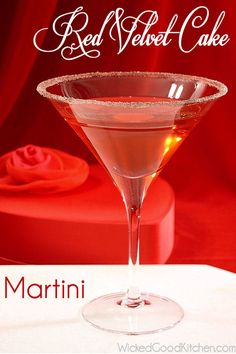 Red Velvet Cake Martini Cocktail by WickedGoodKitchen.com ~ The perfect Valentine's Day cocktail for Red Velvet Cake lovers!