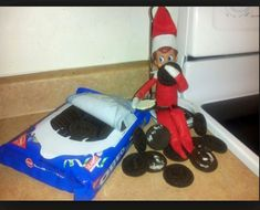 Elf on the Shelf eating all the Oreos....