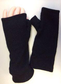 B78 black Cashmere arm warmer women girls by mcleodhandcraftgifts