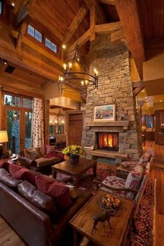 working with wood - warm inviting. also love the persian and the stone fireplace