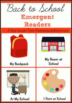 Free set of printable back to school emergent reader books - perfect for new readers!