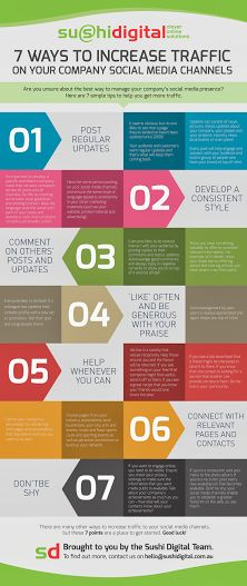 7 ways to increase traffic on your social media channels.  #SocialMedia #Traffic #Facebook #Twitter #Pinterest #LinkedIn