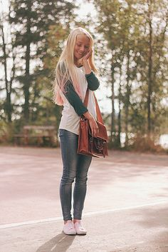 Cute casual outfit: skinny jeans and baseball sleeved tee. #fashion #style jean, outfit idea, baseball tee outfit, fashion styles, bag, cute casual outfits, cloth style, fashion women, style fashion