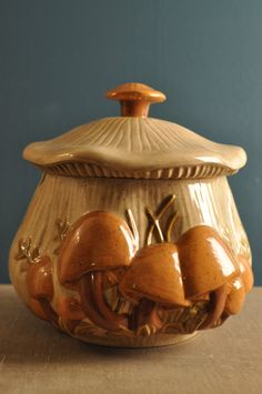 Retro Arnel's Ceramic Mushroom Soup Tureen / Cookie by EuroFair, $29.00