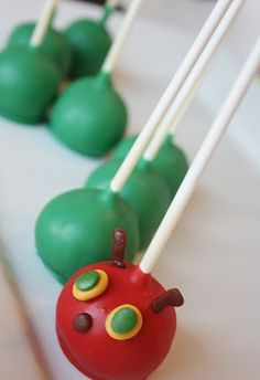 Very Hungry Caterpillar cake pops. How cute is this?