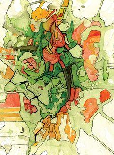 Making Art from maps  Mate' Cartography Art Print