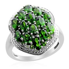 Liquidation Channel:  Russian Diopside Ring in Platinum Overlay Sterling Silver