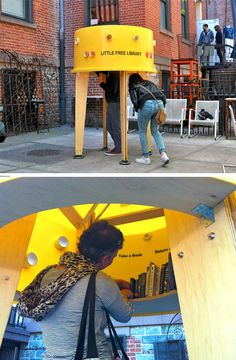 The Free Little Library byStereotankencourages people to (quite literally) pop their head in, pick out a book or leave one behind. With small windows in and out, it remains semi-private without feeling claustrophobic in the face of its small volume.