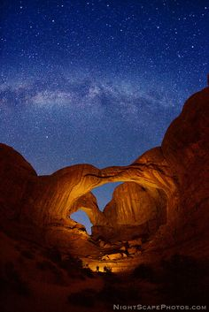Double Arch and Milky Way stars, in Arches N.P. - by Royce Bair. Click large image to learn and see more...