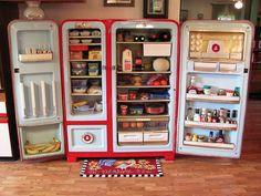 vintage appliances, 1950s refriger, retro fridge, vintage fridge, retro kitchen appliances, vintage refrigerator, retro refrigerator, kelvin foodarama, retro 1950s