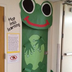 """Hop Into _____!""  Creating a frog classroom door display would be fun for spring, or any other time of the year as well."