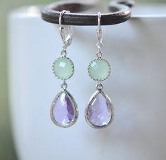 Lavender Teardrop and Mint Jewel Drop Earrings in by RusticGem, $32.00
