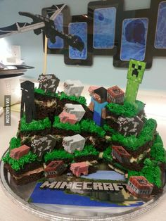Some parents are just awesome. Home-made Minecraft cake by a mom from my office.