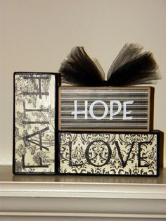 change colors by using scrapbooking paper and modge podge stain and sanding fabulous wooden blocks