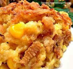 Best Corn Casserole: 1/4 stick butter, 1/4 C flour, 1 C chicken stock, 1/2 C milk, 1/2 C sour cream, 1 box Jiffy cornbread mix, 2 eggs, 1 1/2 C frozen corn kernels  2 serrano peppers, chopped  1 C shredded cheddar cheese  1 C french-fried onions  Salt and pepper to taste