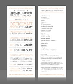 #wedding #invitation #illustration #design #grey #peach #program