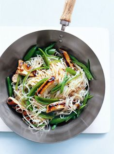 plum + ginger chicken w/ sugar snap peas + rice noodles • donna hay