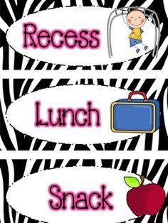Zebra Print Daily Schedule Cards