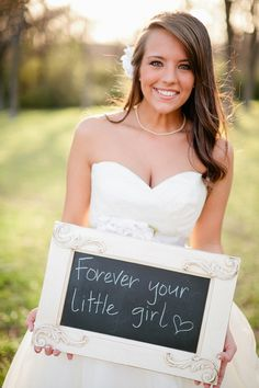Very cute idea to take a picture like this for my Dad on my wedding day, then frame it for him!