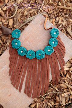 Leather flower fringe necklace. $58.00, via Etsy.