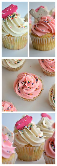 Circus animal cookie cupcakes.  Cupcakes loaded with bits of circus animal cookies and decorated to match!
