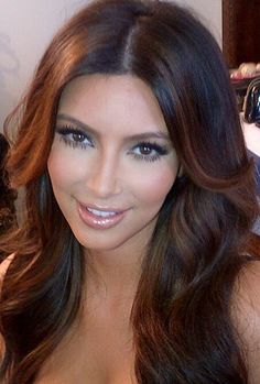 Kim Kardashian with brown hair and copper highlights burnt brown a great 2013 Hair Color