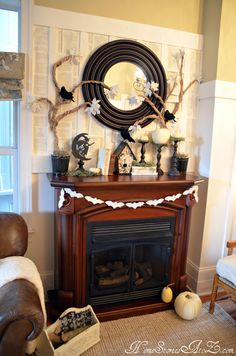 Use old book pages to create a stunning backdrop for your mantel.