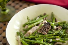Recipe: Asparagus with morels and tarragon || Photo: Evan Sung for The New York Times