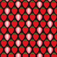 black strawberry fabric by Timeless Treasures from the USA