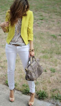 Outfit ideas. Yellow blazer. White shirt/ pants. Nude pumps