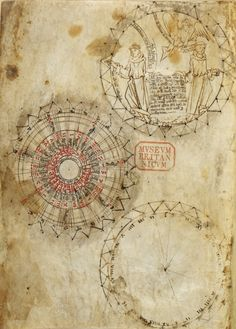 Three circular diagrams, the central of which is a table in red and black, likely for determining the date of Easter. The lower diagram appears unfinished, while the upper circle contains a line drawing in brown of two Franciscan friars and an angel (London, British Library, MS Harley 3734, f. 1v).