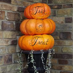Stacked Pumpkin Message - Create a welcoming outdoor pumpkin decoration for guests and trick-or-treaters this year.