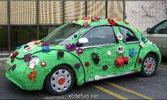 Crochet Cars  The Knitted Vehicles green car, art car, vw beetles, bugs, crochet, yarn bomb, knit, vw bug, volkswagen