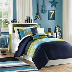Blue and greens bedding