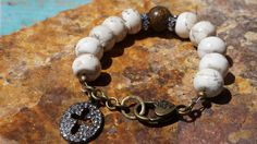 Bohemian Gemstone Bracelet White Turquoise by fleurdesignz on Etsy, $39.00