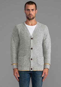 LEVI'S: MADE & CRAFTED Wool Cardigan in Grey Melee - Sweaters & Knits
