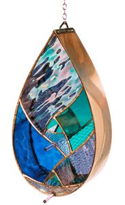 Check it out!! Stain glass bird feeder
