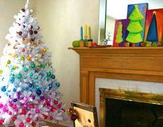 white christmas trees, christmas design, decorating ideas, decorated christmas trees, christma tree, family rooms, tree designs, tree paintings, rainbow