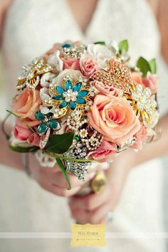 brooch bouquet this one is a good combination of fresh and jewels