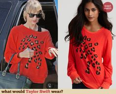 Taylor Swift's Red leopard spot sweatshirt at a dance studio in LA. Outfit Details: http://wwtaylorw.com/2913
