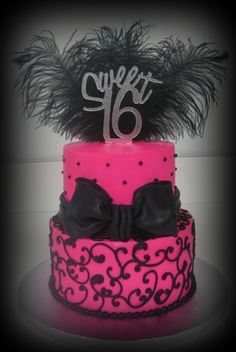 This hot pink & black sweet sixteen cake offers another clue about a big moment in The Grass is Always Greener.